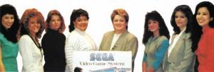 Sega's customer service representatives during the early Master System era. From left: Sandy Rao, Joanne Morales, Judy Jetté, Teri Alba, Cheryl Huculak, Heidi Marc, Teri Klas, and Sharon Rao.